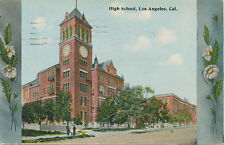 B3149  1920  POSTCARD LOS ANGELES CA HIGH SCHOOL FLOWER BORDER