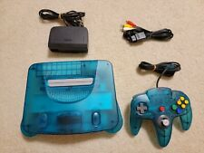 Clear Blue Glacier Funtastic N64 Console, Controller, and Cords US Seller