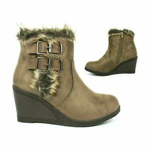 Women's Winter  Suede  Faux Fur Wedge Ankle Winter Boots Chunky heel Brown