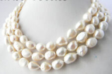 50''Long 9-10mm White Baroque Freshwater Pearl Necklaces