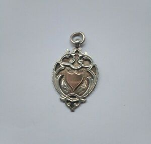 Antique Bravingtons Sterling Silver and rolled gold pocket watch fob/medal 1916