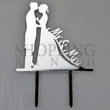 Mr Mrs Bride & Groom Silver Acrylic WeddingMarried Cake Topper Silhouette