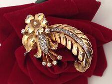 SUPERB DEROSA Signed Fur Clip Gold tone Plated Metal Flower Floral Art Nouveau!