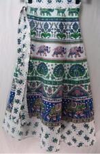 Tienda Ho~WHITE~Midi wrap skirt~HANDWOVEN COTTON~folk print~INDIAN~plus OS
