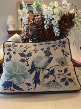 Vintage Handmade Needlepoint Bird And Floral Pillow Sz 18�x13� Very Fine Stitch
