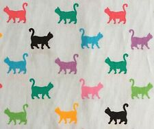 1:12 Scale Blue Cotton Material Piece With A Cat Pattern Tumdee Dolls House ML