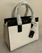 Kate Spade Cameron Medium Leather Satchel Tote Shoulder Bag White/Beige/Black