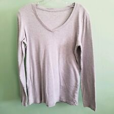 JCP Women Gray Long Sleeve Top Large
