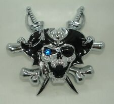 PIRATE Skull patch 3D chrome abs Car Motorcycle Bike decal sticker Swarovski EYE