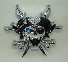 SALE PIRATE Skull 3D chrome abs Car Motorcycle Bike decal sticker Swarovski EYE