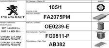 105/1 KIT 4 FILTRI TAGLIANDO CITROEN C2 1.4 HDI 50 KW 70 CV FINO AL 2010
