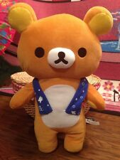 "19"" Rilakkuma Blue Scarf Plush Brown Bear Stuffed Animal Japan SKJ"