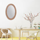 Hanging Wall Oval Mirror Home Rattan Nordic Wicker Natural Decoration Mirrors US