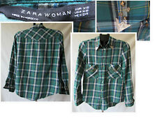 ZARA WOMAN country western cowgirl checked shirt size xs on trend 2019