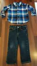 Baby gap 2 piece smart outfit blue check shirt straight leg jeans 2-3 years