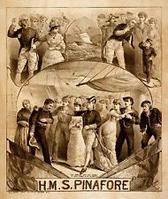 HMS Pinafore Stage Musical Theatrical Poster 1879 9x8 Inch Reprint