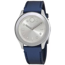 Movado Bold Silver White Accents Blue Rubber Band Swiss 38MM 3600427 BRAND NEW