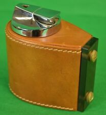 """c70s Mark Cross Italy Saddle Leather-Lined Ronson Lighter"""