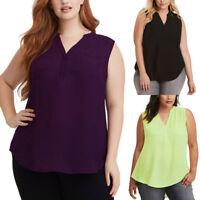 Women's Summer Loose Blouse Plus Size Tank Tops Vest Sleeveless Chiffon Shirts