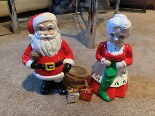 "Classic Vintage Mr and Mrs Santa Clause Ceramic Large Christmas figurines 10"""