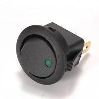 2x Interruptor Circular Negro Led 12V Verde Green Modo B Encendido