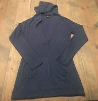 BCBG Maxazria Women's Long Sleeve Pullover Navy Blue V-Neck Hoodie Sweater Sz: L
