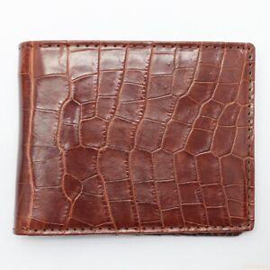 Genuine Alligator Crocodile Skin Handmade Wallet Brown Double Bifold