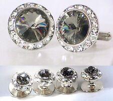 Black Diamond Tuxedo Round Cufflinks & Studs Set Made With Swarovski Crystals