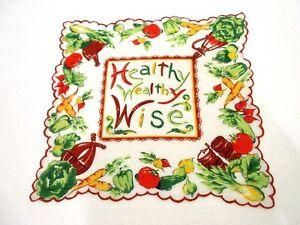 "VINTAGE RARE NOVELTY HEALTHY WEALTHY WISE VEGETABLES HANKIE HANDKERCHIEF 13"" X12"