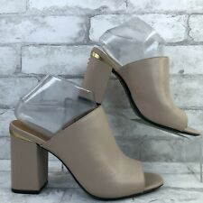 Calvin Klein Cicelle Taupe Leather Mules Open Toe Studded Block Heel Womens 8.5M