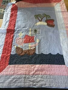 Laura Ashley Vintage CHILD's Pirate Patchwork Quilt Bedspread Throw 60x80 Inches