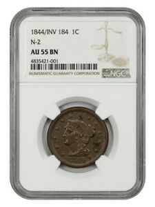 1844/INV 184 1c NGC AU55 (N-2) Tough Inverted Date Variety