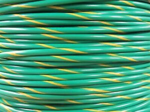 Alpha 3079 100ft 14awg 14ga Copper Stranded Wire Green with Yellow Stripe 600v