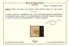 Napoli 1859 - 20 grana rosa chiaro - Sassone 13 - Certificato - Usato ASI017