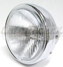 """Chrome 7"""" Motorcycle Headlight Shell Side Mount w/ Light Cafe Chopper Bobber"""