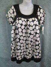 Ecologie Dress Size Large Satin Polka Dot Babydoll Shift B&W Op Art NWT NEW