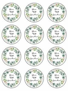 Floral Eucalyptus Wreath personalised edible printed cupcake Toppers Wafer icing
