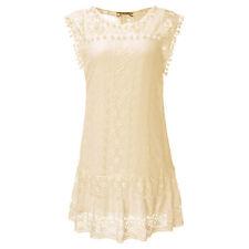 Womens Boho Crochet Lace Short Mini Dress Top Ladies Summer Beach Party Sundress
