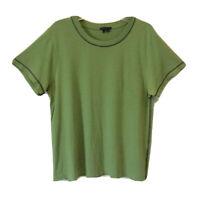 THEORY $48 T-Shirt Green Short Sleeve 100% Cotton Top SZ Juniors-Large