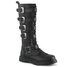 DEMONIA Men's Goth Combat Lace Up Adjustable Buckle Straps Black Knee High Boots