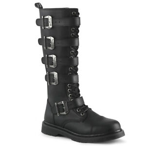 DEMONIA Men's Goth Combat Lace Up Adjustable Buckle Straps Black Knee High Boots