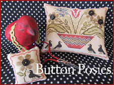 10% Off Scarlett House X-stitch chart-Button Posies-Pin Keep & Scissor Weight