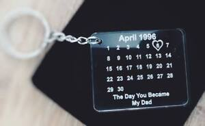 personalised acrylic THE DAY YOU BECAME MY DAD -Fathers day keyring + gift bag