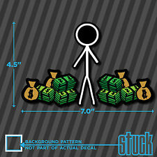 """Stick Figure Male With Money - 7.0""""x4.5"""" - printed vinyl decal sticker"""