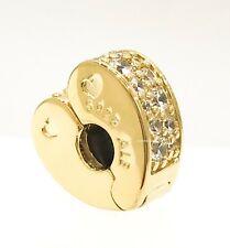 PANDORA Shine 18k Gold Sparkling Arcs of Love Heart Charm Pendant 767020CZ