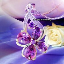 GIFTS FOR HER - 925 Silver Amethyst Purple Crystal Necklace Love Xmas Women Wife