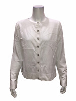 Isaac Mizrahi Women's Essentials Long Sleeves Cardigan Top White Large Size