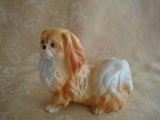"""Vintage Ceramic Pekingese Yellow Dog Figurine Marked """"Pekingese"""""""