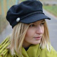 Women Beret Vintage Solid Color Wool Gatsby Newsboy Cap Fashion Hat