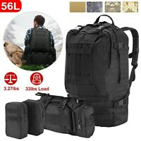 55L Molle Outdoor Military Tactical Backpack Camping Hiking Trekking Bag Black